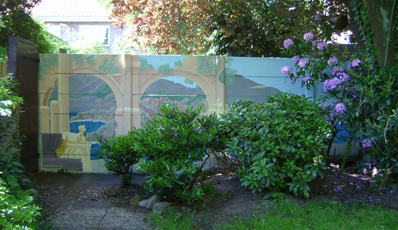mural on a garden back wall